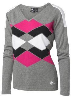 Cross Golf Gimme V-Neck Sweater Light Grey white black hot pink | #Golf4Her
