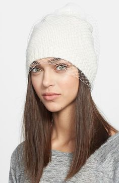 Free shipping and returns on BCBGMAXAZRIA 'Winter Veil' Beanie at Nordstrom.com. A glam veil overlay puts a special-occasion twist on a knit beanie topped with a supersoft, genuine rabbit-fur pompom.