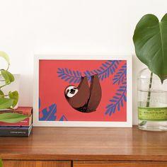 Drucken von einem glücklich Sloth hängen von von CarolinaBuzio