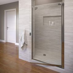 Basco Sopora H x to W Framed Pivot Chrome Shower Door (Clear Glass) at Lowe's. Basco Sopora framed glass shower enclosure has proven performance of style and function. The single panel shower door has anodized aluminum hardware helps Bathtub Doors, Frameless Shower Doors, Glass Shower Doors, Framed Shower Door, Shower Walls, Glass Shower Enclosures, Shower Units, Chrome Handles, Bath Decor