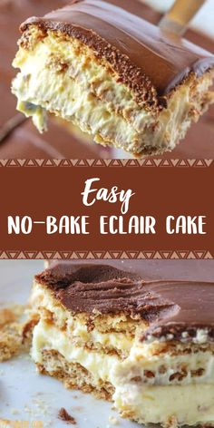 It doesn't get any easier than this no-bake chocolate Eclair Cake! Layers of graham crackers, vanilla pudding and Cool Whip are finished with a rich chocolate frosting for a creamy, dreamy dessert recipe that's perfect for any party or holiday! No Bake Eclair Cake, Eclair Cake Recipes, Chocolate Eclair Cake, No Bake Cake, Chocolate Frosting, No Bake Pies, Eclairs, Quick Dessert Recipes, Baking Recipes