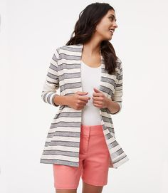 Primary Image of Ottoman Striped Belted Jacket
