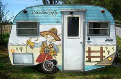 """One of the """"Sisters On The Fly"""" vintage trailers. Doesn't it just make you want to hop on the road and take OFF? Wheehaaa!"""