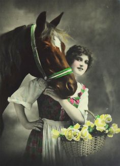 Beautiful Brunette Woman w/ Yellow Flowers & Brown Horse Real Photo RPPC Antique Postcard c1920s by OakwoodView, $6.00