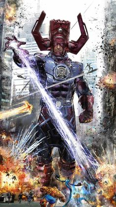 Galactus vs Cuatro fantasticos and Silver Surfer - Marvel Comic Book Characters, Comic Book Heroes, Marvel Characters, Comic Books Art, Comic Art, Marvel Fanart, Marvel E Dc, Marvel Heroes, Captain Marvel