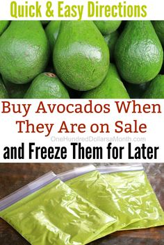 How to Freeze Avocados - One Hundred Dollars a Month Freezing Vegetables, Freezing Fruit, Frozen Vegetables, Fruits And Veggies, Fresh Guacamole, Homemade Guacamole, Fresh Avocado, Frozen Fruit, Frozen Meals