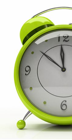 Happy lime green alarm clock.