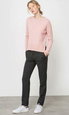 Light pink sweater+dark grey checked pants+white sneakers. Fall Outfit 2016