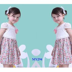 Beautiful girls lace summer dress printed flower pattern    contact:moon01@moonyao.com   #KidsClothing #GirlsClothing #BabyClothing #KidsWear  #Pants #Trousers