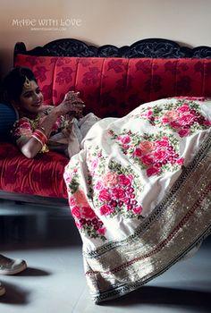 Bridal Wear - Japtej & Gayatri wedding story | WedMeGood | White Silk Floral Lehenga with a Floral Blouse  #wedmegood #indianbride #indianwedding #floral #lehenga #bridallehenga #realweddding
