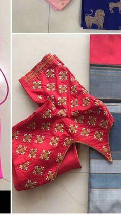 Pattu Saree Blouse Designs, Blouse Designs Silk, Kurta Designs, Blouse Patterns, Hand Work Embroidery, Hand Embroidery Designs, Mirror Work Blouse, Kutch Work, Blouse Models