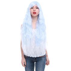 Free Shipping 90cm Rhapsody Anime Halloween Wig Women Lady Blue Long Curly Cosplay Wig
