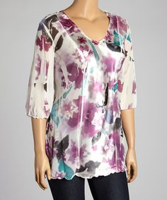 Look at this Plum Floral Sublimation V-Neck Top - Plus on #zulily today!