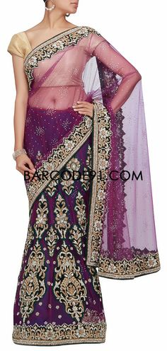 Buy it now  http://www.barcode91.com/a-purple-lehenga-saree-with-patch-embroidery-in-kundan-and-stone-by-barcode-91-exclusive.html  A purple lehenga saree with patch embroidery in kundan and stone by Barcode 91 Exclusive