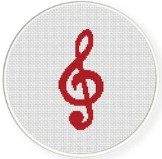 FREE for Feb 23rd 2014 Only - Treble Clef Cross Stitch Pattern