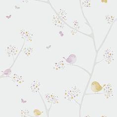 Papel pintado infantil Pajaritos en la rama lila Casadeco   Decoiluzion.com