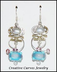 Lampwork Glass Bead and Freshwater Pearl Geometric Dangle Earrings Selling On Pinterest, Jewelry Box, Jewellery, Lampwork Beads, Wearable Art, Dangle Earrings, Glass Beads, Dangles, Pearls