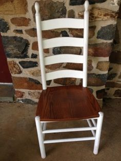 Cherry wood finished with stain and white paint on the frame. Ladder Back Chairs, Side Chairs, Dining Chairs, Farmhouse Style Furniture, Reclaimed Barn Wood, Take A Seat, White Paints, Wood Table, Rocking Chair