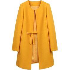 Goodnight Macaroon ❤ liked on Polyvore featuring outerwear, coats, jackets, tops, yellow trench coat, collarless coat, car coat, vintage pea coat and belted pea coat