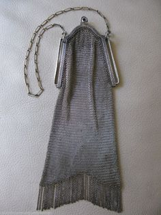Vintage Art Deco Silver T Blue Jewel Clasp Fine Chain Fringe Mesh Purse W & D #EveningBag