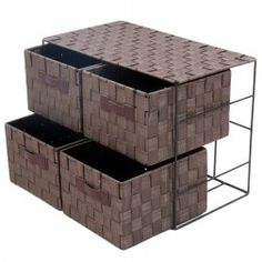 Cajonera 4 cestas de mimbre beige mimbre en for Muebles de mimbre y rattan