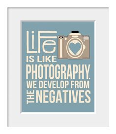 Camera Print, Gift for Photographer, Quote Art, Inspirational Quote, Photography, Home Decor, Slate, Cream, Retro, Typography Poster via Etsy