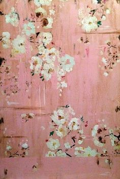 artist: Kathe Fraga ~ French Wallpaper Series ~ evokes the hand-painted, time-worn walls of a grand old Parisian mansion. French Wallpaper, Painted Wallpaper, Pink Wallpaper, Flower Wallpaper, Art Et Illustration, Chinoiserie, Flower Art, Pretty In Pink, Art Photography