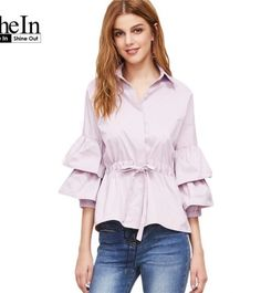 0f5366aee9a SheIn Women s Tops and Blouses Shirt Pink Layered Three Quarter Length Flare  Sleeve Drawstring Waist Cute Blouse - StyleMeUp