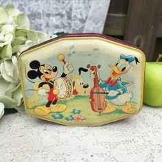 Charming Antique Disney Tin Litho Box Mickey 1940's