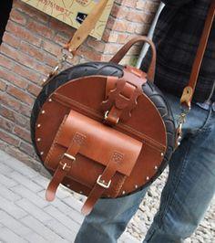 TREASURE Art Bag - Handmade Novelly Messenger Bag Satchel in Antique Brown Leather