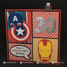 Handmade Marvel / Avengers birthday card design featuring Iron Man & Captain America. Designed by Cookies and Cards.
