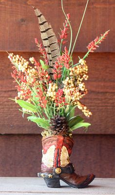 Handmade Western Decor Floral Flower Arrangement Cowboy Boot Pheasant Feathers | eBay