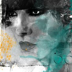 Watch closely - Painting,  100x3x100 cm ©2013 by Isabelle Zacher-Finet -                            Abstract Art, Portrait, abstract, abstrait, woman, face, visage, painting, Malerei, zacher-finet