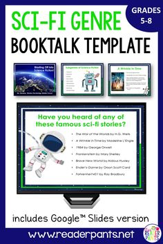This site offers templates for student science fiction book talks. Library Skills, Library Lessons, Library Ideas, Genre Lessons, Middle School Books, Reading Incentives, Teacher Librarian, Digital Literacy, Elementary Library