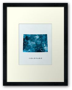 Colorado   #colorado #denver #unitedstates #usa #state #map #art #framed #print #home #office #wall #decor #gift #ideas #shopping #abstract #travel #minimalist #modern #typography #blue #watercolor