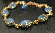 Beautiful Blue Agate Gems Brass Wire Bracelet