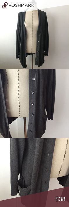 Eddie Bauer grey long cardigan Great condition. No buttons are missing. Has two pockets. Great everyday cozy cardigan. Color is dark grey. Eddie Bauer Sweaters Cardigans