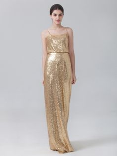 Glittery gold bridesmaid dress