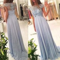 New Arrival Beaded Scoop Prom Dress Formal Evening Gowns Handmade Stones Long Party Dress Evening Dress