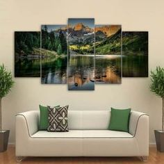 Mountain Lake View Canvas Set Wall Art Mountain Wall Print Lake Home Decor Pictures Artwork Mountain Lake Canvas Print Framed Home Gifts Home Decor Pictures, Living Room Pictures, Wall Art Pictures, Print Pictures, Wall Art For Sale, Mountain Paintings, Modern Wall Art, Wall Prints, Canvas Prints