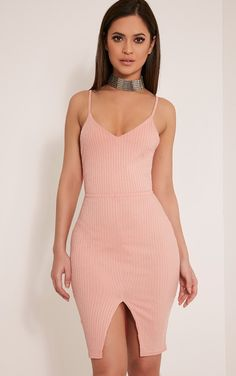 Nayna Dusty Pink Ribbed Cross Back Bodycon Dress Image 1