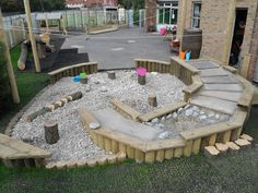 Spiralled water play stream in children's school playground, – natural playground ideas Outdoor Learning Spaces, Kids Outdoor Play, Outdoor Fun, Preschool Playground, Backyard Playground, Playground Ideas, Outdoor Classroom, Outdoor School, Eyfs Outdoor Area