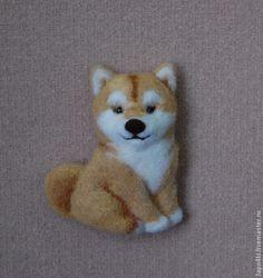 Купить брошь Сиба-ину - бежевый, собака, собачка, собаки, сиба-ину, брошь из войлока