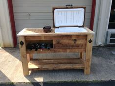Barn wood cooler table with wine chill bucket and notched storage area. Great bottom shelf for extra storage or décor.