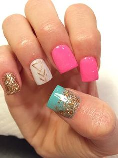 you should stay updated with latest nail art designs, nail colors, acrylic nails. - Photogenic Nails - New Years Nail Get Nails, Fancy Nails, Trendy Nails, Love Nails, Bright Gel Nails, Bright Colored Nails, Nail Art Designs, Aztec Nail Designs, Square Nail Designs