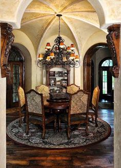 Old World, Mediterranean, Italian, Spanish & Tuscan Homes & Decor | Dining Room