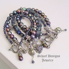 Artisan handcrafted gemstone iolite, peacock pearl, & sterling silver stacking bracelets | Gwen Stefani inspired | Schaef Designs gemstone jewelry | online jewelry boutique | New Mexico