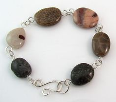 #Michigan stones #bracelet with sterling silverby rwilberg on Etsy