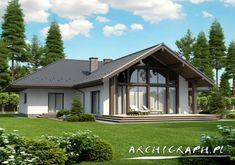 projekt Lemko Termo - February 09 2019 at Village House Design, Village Houses, Dream Home Design, Modern House Design, Farmhouse Plans, Modern Farmhouse, Bungalow Renovation, Dream House Exterior, New House Plans