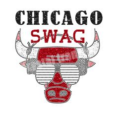Brand New Design Chicago Swag Rhinestone Heat Transfers